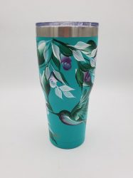 Teal and Purple Hummingbird Tumbler