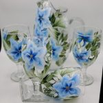 Blue floral pitcher set