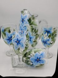 Blue floral pitcher set